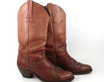 Frye Campus Boots Vintage 1980s Russet Burgundy Whiskey Brown Cowboy Leather Men's 10 1/2