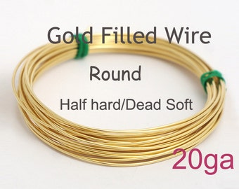 14K Gold filled wire/5ft/10ft - 20ga gauge HH or DS, made in USA wholesale Jewelry Wire Supply(1020)