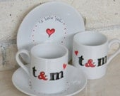 Hand painted porcelain custom monogrammed personalized set of espresso cups and saucers