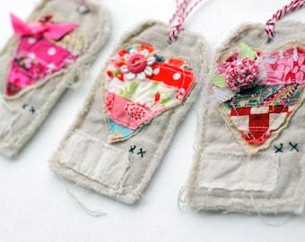 handmade valentine heart fabric tags, set of 3
