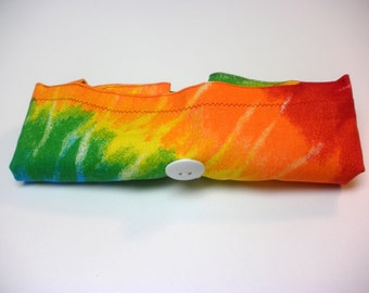 Fold Up Fabric Tote Bag - Shopping Bag - Market Bag -  Replaces Plastic Bags - Eco Friendly - Tie Dye - Rainbow Colors