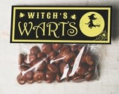 INSTANT DOWNLOAD Halloween witch warts Treat Topper Candy Bag Topper Label homemade candy trick or treat bag gross silly funny halloween