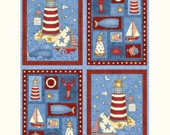 Light House Fabric Panel - Debbie Mumm - from Safe Harbor for SSI - 1 panel
