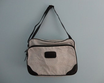 VINTAGE black and white MESSENGER carry on BAG