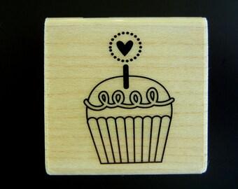 SALE Cutest Cupcake Hampton Art Wood Mount Rubber Stamp