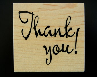 THANK YOU! Wood Mount Rubber Stamp