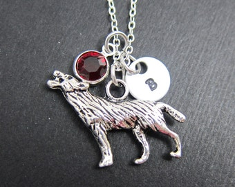 Werewolf Necklace - Howling Wolf, Twilight, Personalized Initial Name, Customized birthstone