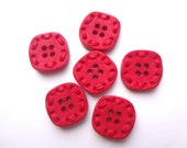 Vintage style retro red buttons - with stitch effect - Set of six