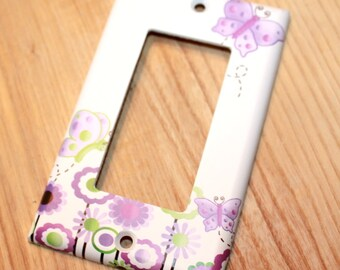 Lilac Butterfly Single Light Switch Cover Girls Bedroom Single Light Switch Cover LS0030