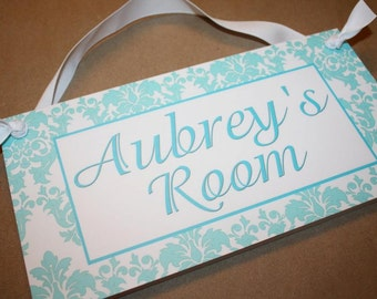 Aqua and White Damask Floral Print Girls DOOR SIGN Nature Bird Bedroom and Baby Nursery Kids Bedroom Wall Art DS0356