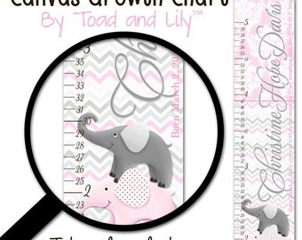 Kids Canvas Birth Info GROWTH CHART™ Baby Pink Grey Elephant Chevron Girls Baby Nursery Canvas Growth Chart Baby Shower Gift GC0236