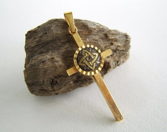 Vintage Gold & Black Cross Pendant Celtic Knot Religious Christian
