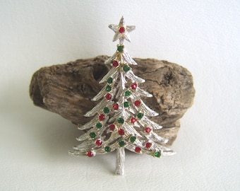 Vintage Brooch, Christmas Brooch, Christmas Tree, Sarah Coventry, Silver Tree, Rhinestone Tree, Red & Green, Holiday Brooch