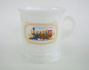 Vintage Train Engine Shaving Mug Milk Glass Avon Locomotive