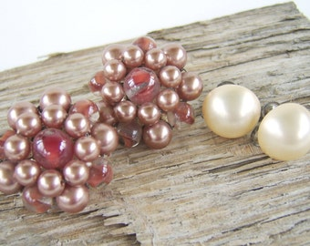 Vintage Clip On Earring Lot Pearl & Pink Glass