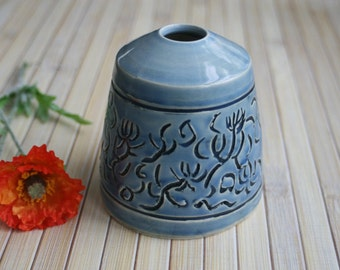 Japanese Inspired Vase with Hand Carved Design in Blue Celadon Glaze Ready to Ship Handcrafted in USA Art Vase Pottery
