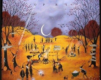 Newbies A Halloween Witchs October Nights Moon Print by Deborah Gregg