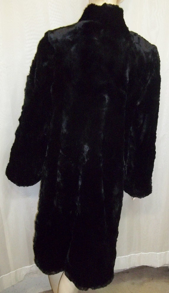 Vintage Black Hudson Seal Sheared Muskrat Coat By