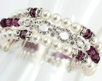 Pearl Bridal Bracelet  Amethyst Swarovski Elements Three Strand Bracelet Rhinestones Silver Purple Bridal Briedesmaids Eggplant Jewelry