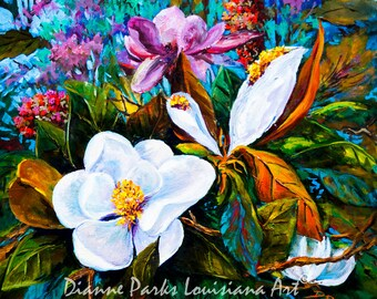Magnolia Blooms- Magnolia Grandiflora, Louisiana State Flower, FREE SHIPPING! Floral Painting, Magnolia, Louisiana Art by New Orleans Artist