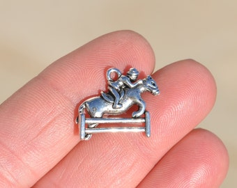 BULK 20 Silver Horse  Jumping Over Fence Charms SC1917