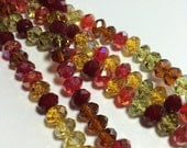 Luscious Crystal Rondelle Beads in Autumn Leaves Mix - 6x4 and/or 8x5mm