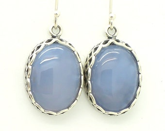 Oval chalcedony silver  earrings