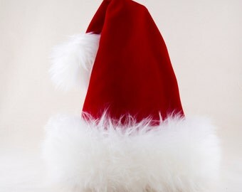 Luxury Santa Red Velvet Hat, Reversible