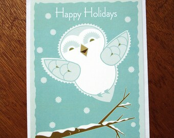 Baby Snow Owl Holiday card