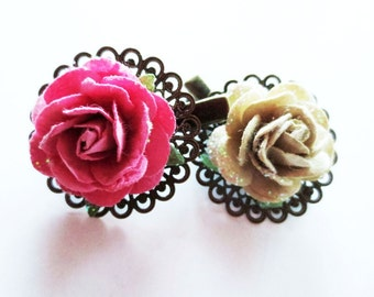 Pink rose barrette.  Green rose hair clip.  Brass filigree clip.  Brass barrette.  Flower hair clip.  Flower barrette.  Rose hair clip set.