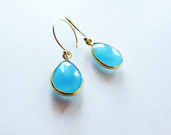 Ocean blue chalcedony earrings. Gold framed pendant earrings.  Chalcedony jewelry.  Blue earrings.