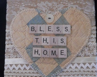 Bless This Home, Scrabble Letter sign, Vintage Inspired burlap collage