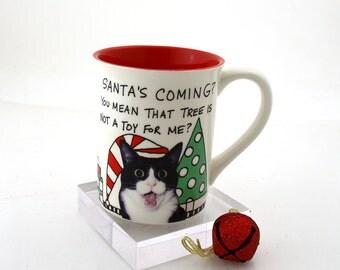 Christmas Cat mug,  gift for cat lady, pet lover, you've cat to be kitten, tuxedo cat, wordplay, hot chocolate mug
