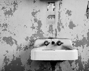 Black and White Decay Photography, Bathroom Art, Abandoned Forgotten Place, Sink Photograph, Peeling Paint, Dark Moody Haunted, Bath Decor