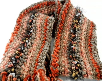 Brown and Rust Scarf Chunky Textured Multi Colored Art Scarves
