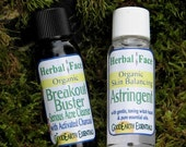 Sampler ORGANIC Herbal Face CLEANSER and ASTRINGENT, 1 oz try me sizes