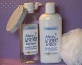 Lavender Lover's Gift Set, Organic Lavender Lotion, Lavender Body Wash, Bath Pouf and stone