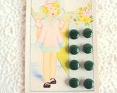 1930s little green shoe buttons on original card