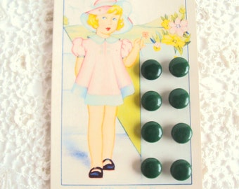 1930s little green shoe buttons on original card