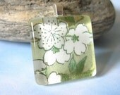 70% OFF Bouquet of Whimsy Yellow Square Pendant. Japanese Chiyogami Necklace. Asian Paper and Handmade Glass Tile.