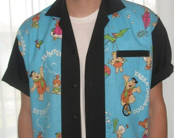Men's Rockabilly Shirt Jac The Flintstones Yabba-Dabba-Doo