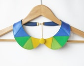 Detachable Peter Pan Collar Blue Green Leather Bib Necklace Statement Leather Necklace Geometric Triangles Necklace READY TO SHIP