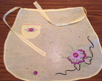 Pretty Little hand stitched and Embroidered Apron in Yellow w Purple