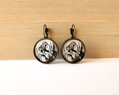 Alice in Wonderland classic black and white illustration round lever back earrings, french ear wires, three finishes to choose from