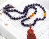 Guanyin compassion unisex necklace - amethyst, jade, snowflake obsidian, and agate (BA)