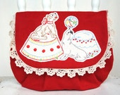 Mia vintage fabric red wool circus purse clutch