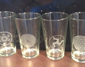 Four Etched Pint Craft Beer Glasses, Sacred Geometry
