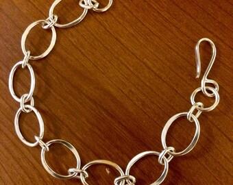 Argentium Sterling Silver Oval Link Bracelet - 8 3/4 INCH