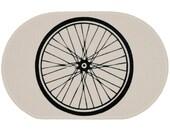 Bike Wheel White Rug - Bath Mat or Door Mat