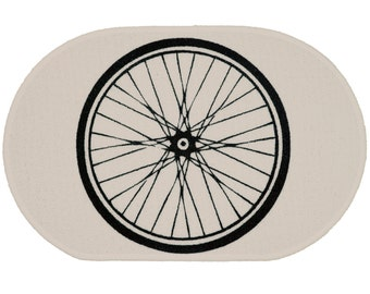 Bike Wheel White Rug - Bath Mat or Door Mat